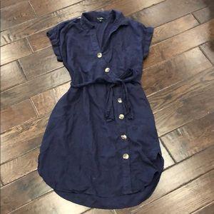 Velvet Heart Dresses - Velvet Heart Song Navy Button-up Shirt Dress